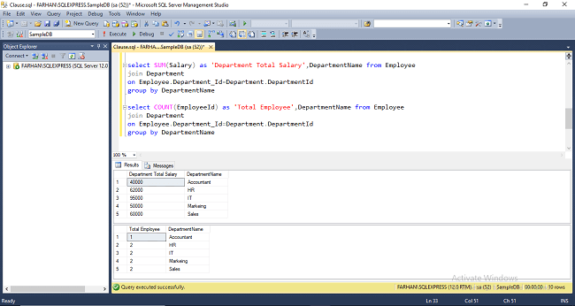 Different Types Of Clause In SQL Server