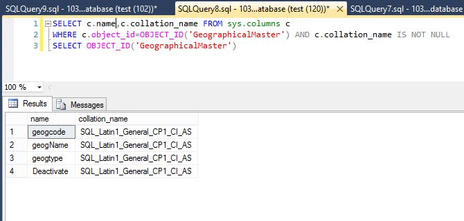 Find Collation Name For DataBase And Columns In SQL Server