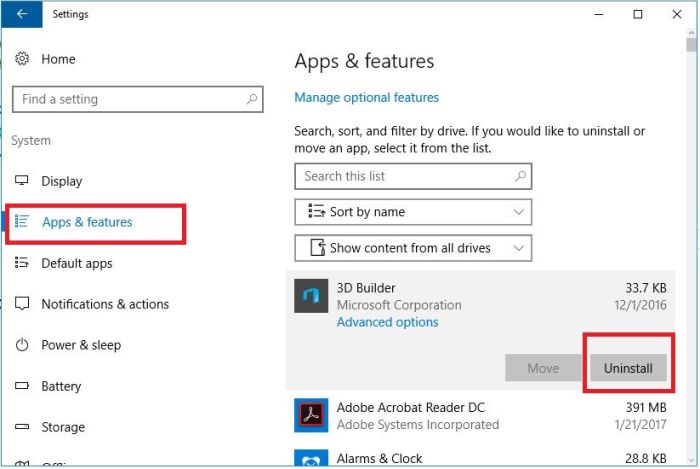 how to clean uninstall app on windows 10