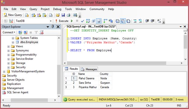 how to make identity insert on in sql server