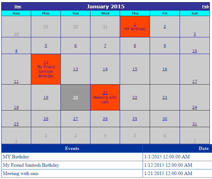 Binding Events In A Calender From DataBase