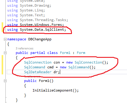 how to connect database in c windows form application