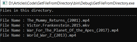 Get Files List From Directory In C#