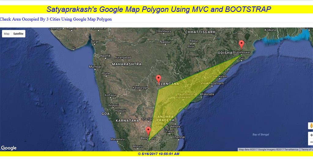 Google Maps - Polygon With Animated Marker Using Bootstrap In ASP