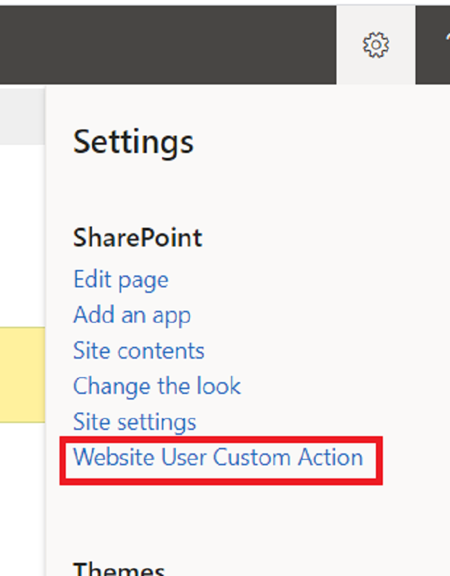 Add, Modify and Delete User custom action for list or library item