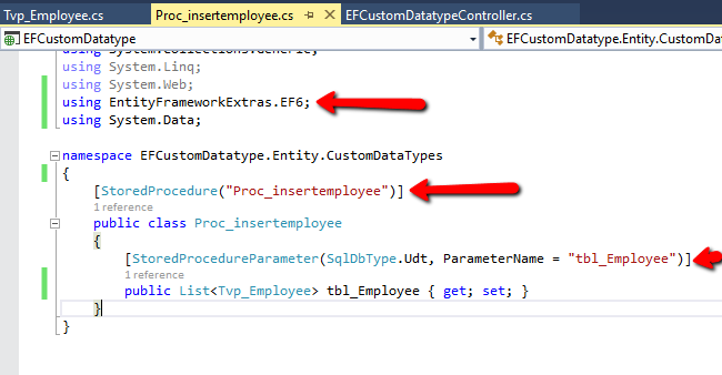Access Stored Procedure With User Defined Data Type Using Entity