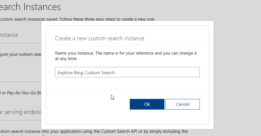 Create Custom Search Instance From Your Bing Custom Search