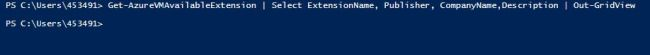 How to check the available extensions for a virtual machine using PowerShell