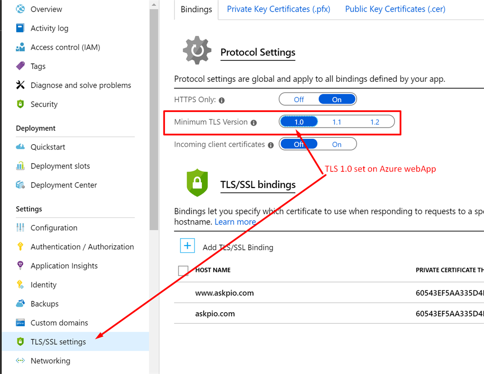 How To Configure The TLS And Resolve Errors Related To This On Azure WebApp