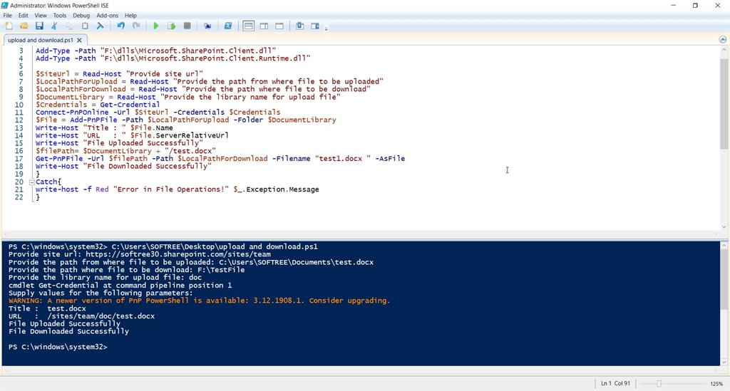 Upload And Download A File Using PnP PowerShell