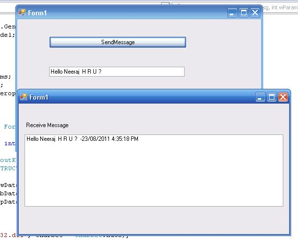 Send and receive message from running two application
