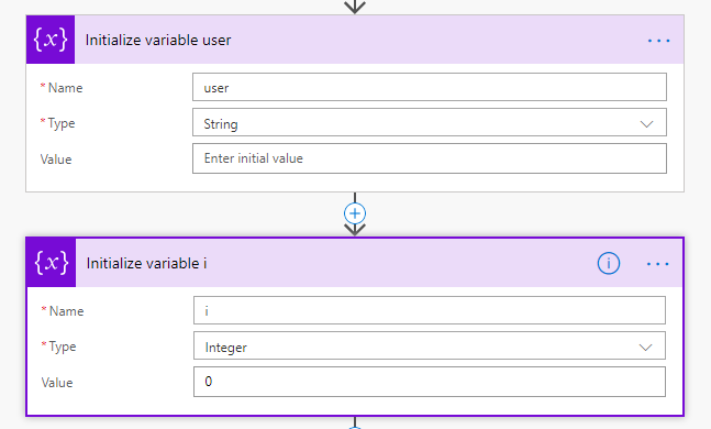 Initialize variable 'user'