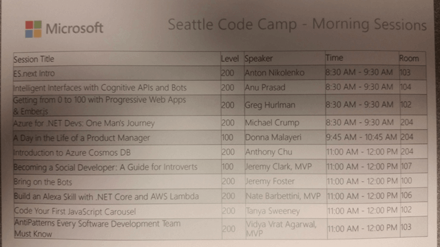 Seattle Code Camp 2017