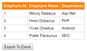 How To Export HTML Table To Excel Using jQuery Plugin