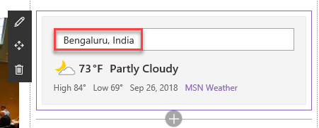 SharePoint Online Modern UI - Weather Webpart