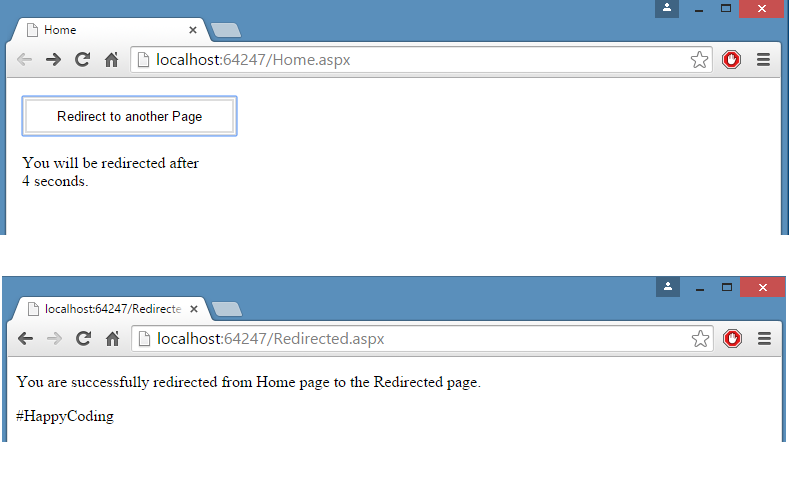 redirect to another page after 5 seconds delay using