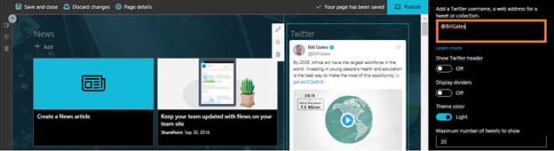 SharePoint Online Modern UI - Twitter Preview Web Part