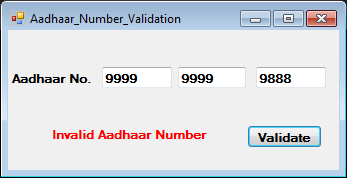 Aadhaar Number Validation Using C#