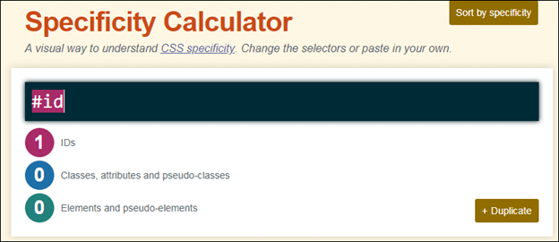 Specificity in CSS