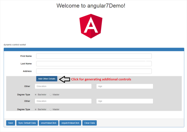 Creating Form Controls Dynamically in Angular 7