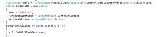 WiFi ON/OFF On Button Click In Xamarin Android