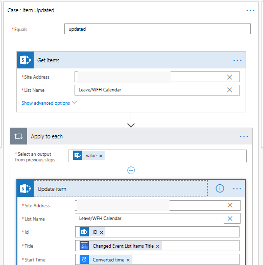 MS Flow - Sync Google with SharePoint Calendar List