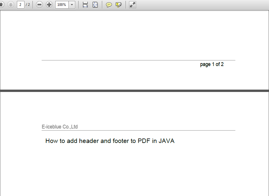 Programmatically Create PDF Header And Footer In Java