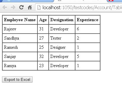 Exporting HTML Table To Excel Using jQuery