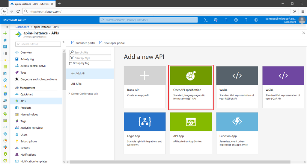 the preview of OpenAPI Specification v3 support in Azure API Management