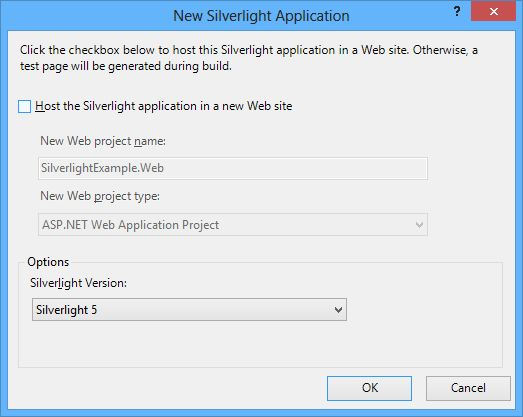 web project for hosting the Silverlight