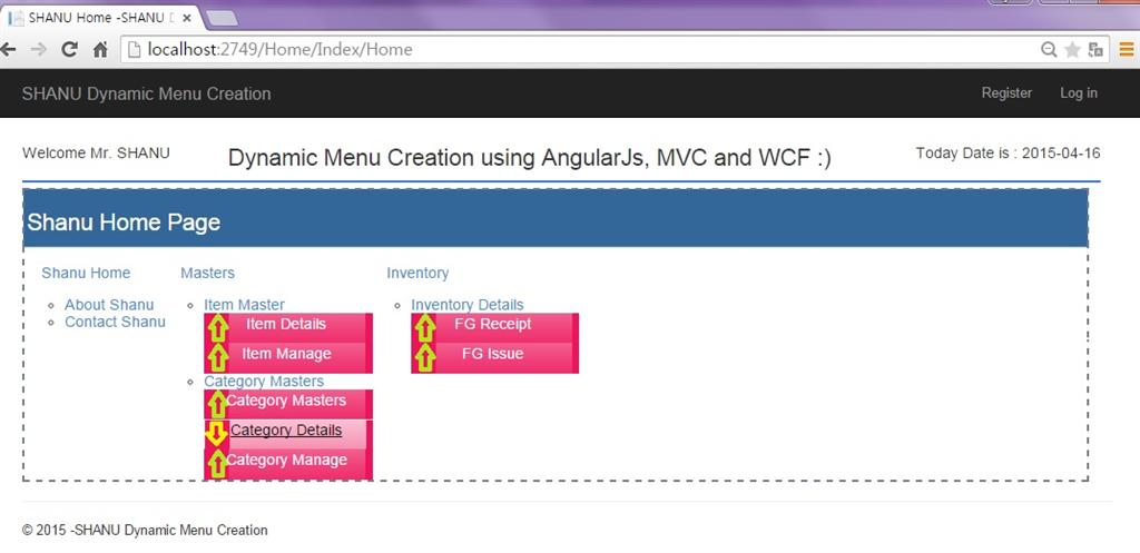 AngularJS Dynamic Menu Creation Using MVC and WCF Rest