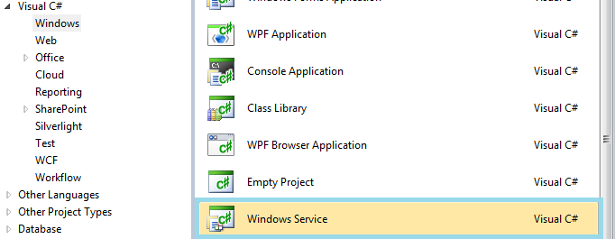 how to create windows service c