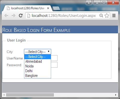 ASP.Net Role Based Login Form Using SQL Procedure