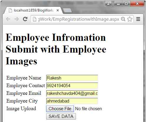 Storing Form Values  Images Path In Database  Images In AspNet