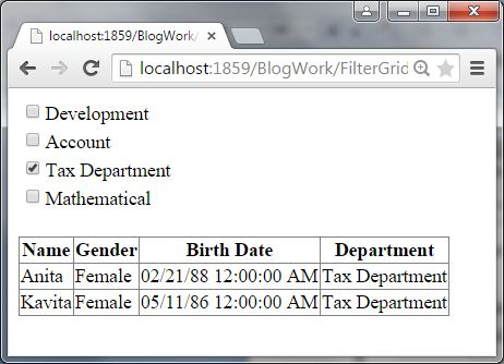 Gridview Data Fill using Tex Department