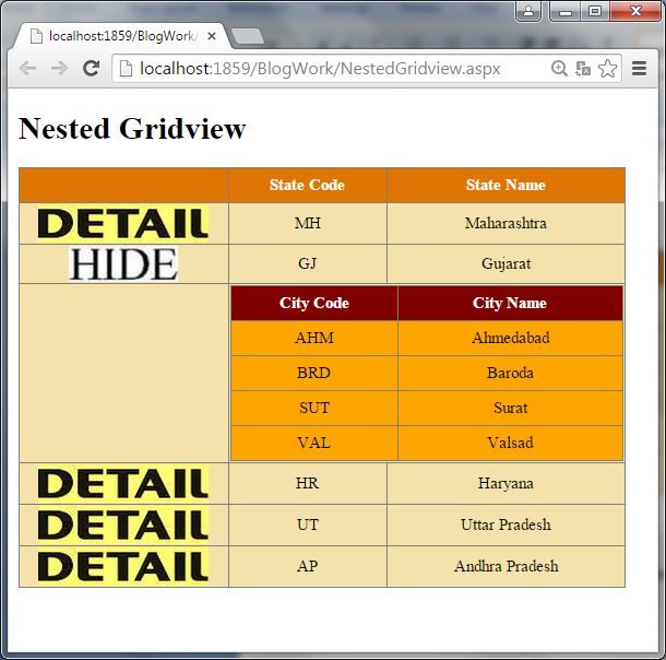 Nested GridView In ASP.Net