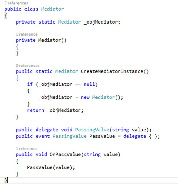 Delegate Example Explained With Mediator Pattern