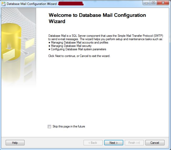 Database Mail Configure Wizard