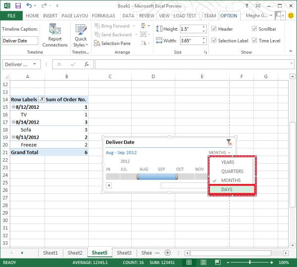 insert timeline in pivottable in excel2013jpg
