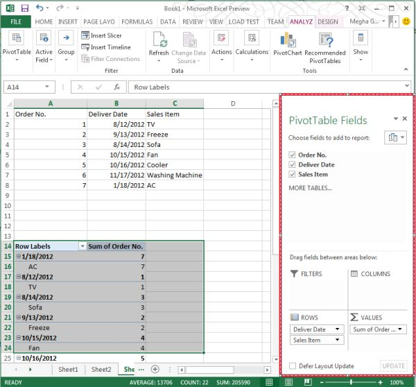 use of timeline in pivottable in excel 2013