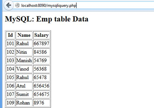 php query