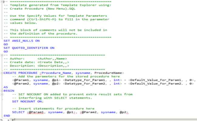 create new stored procedure