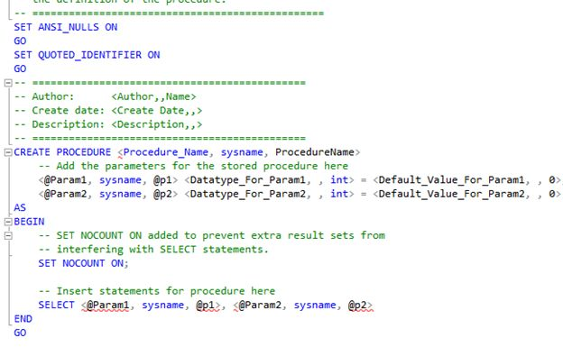 Right click on Stored procedure