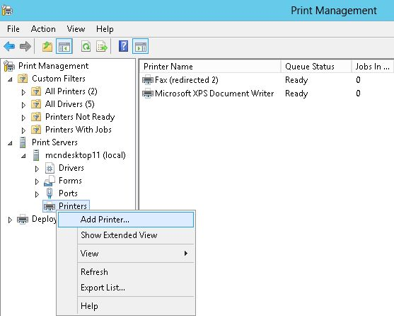 How To Install The Printer On Windows Server 2012 Part 1