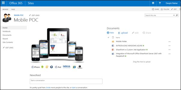 Working with sharepoint 2013 online sites on mobile devices for Sharepoint 2013 meeting workspace template