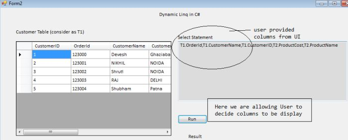 Dynamic LINQ Query In C#