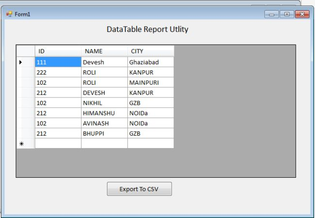 Create UI to display Datatable