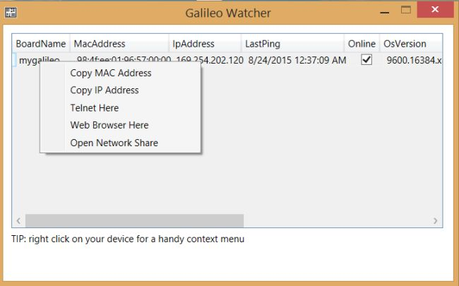remotely connect to your Galileo
