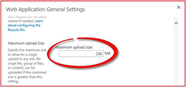 Change Maximum Size of Upload Document File in SharePoint