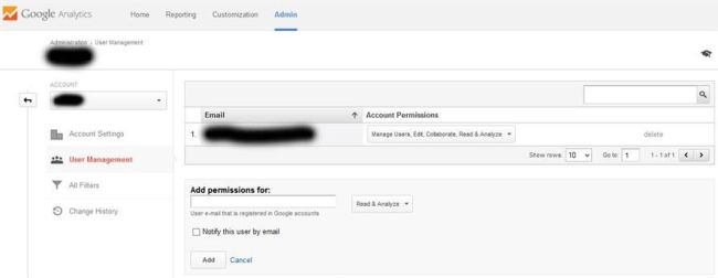 Adding new Google Analytics user